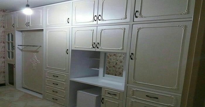 کمد دیواری اتاق خواب با تختخواب کمجا