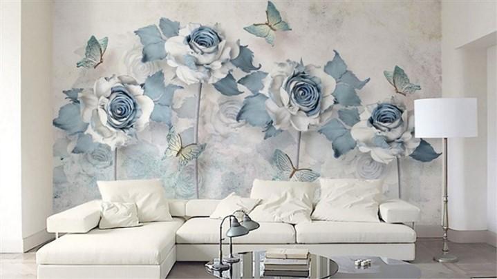 پوستر سه بعدی طرح گل فرق بین کاغذ دیواری و پوستر
