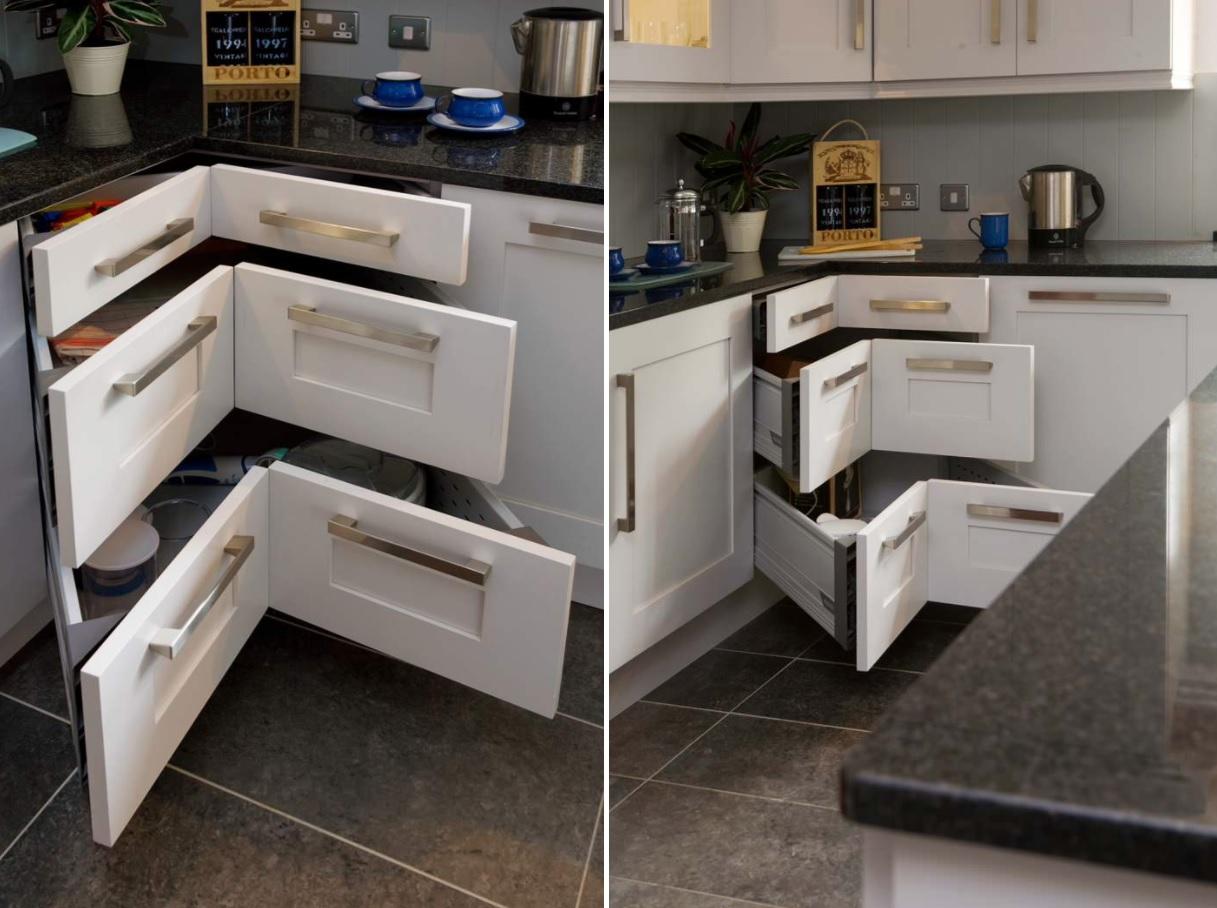 طراحی کابینت کنج دیوار آشپزخانه با دسترسی آسان و کاربردی