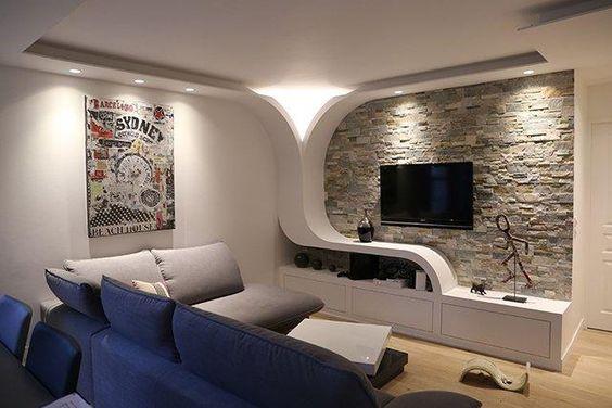 طرحهای جذاب دکوراسیون دیوار پشت تلویزیون با کناف