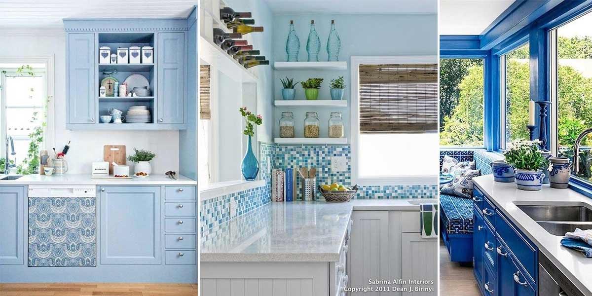 آشپزخانه آبی سفید